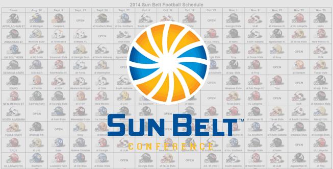 2014 Sun Belt Helmet Schedule