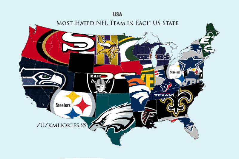 Most Hated NFL Teams In Each State