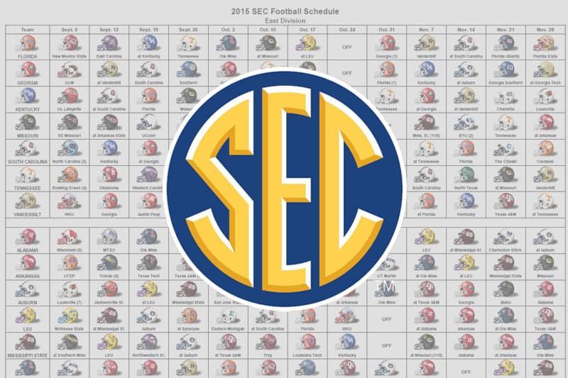 2015 SEC Helmet Schedule