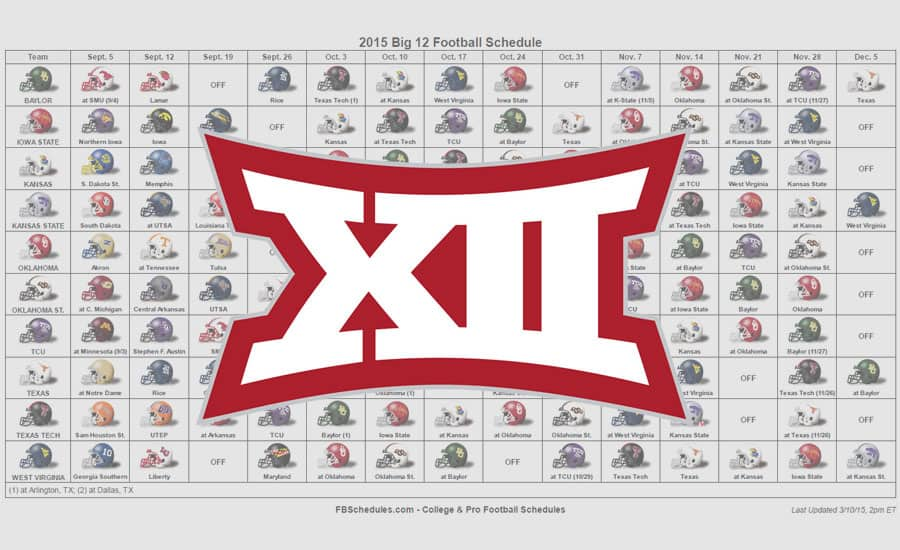2015 Big 12 Helmet Schedule