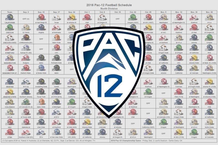 2016 Pac-12 Helmet Schedule