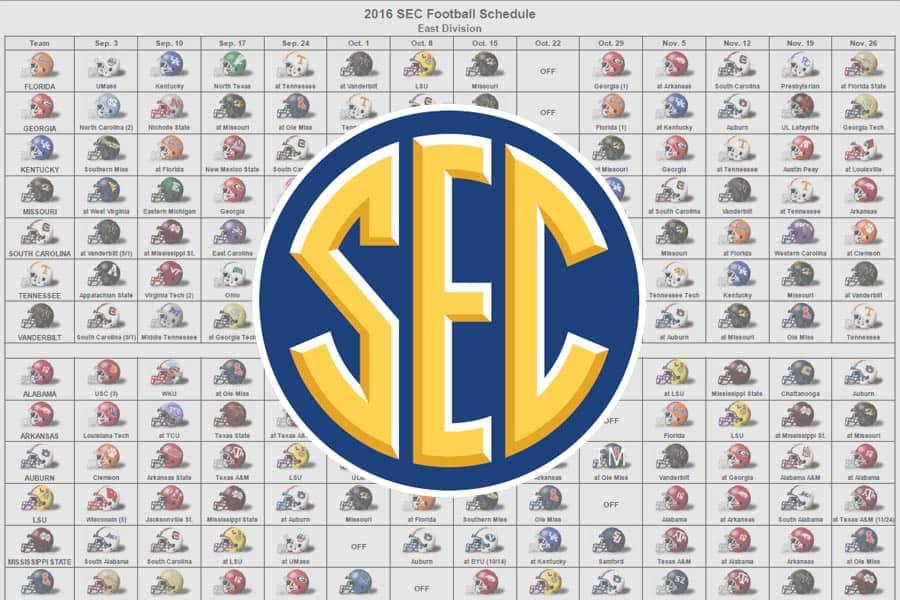 2016 SEC Football Helmet Schedule