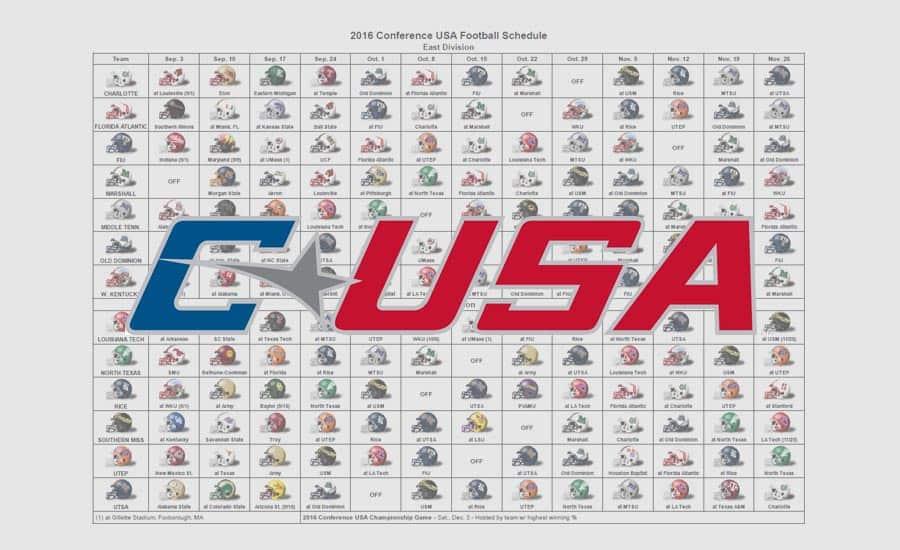 2016 C-USA Helmet Schedule