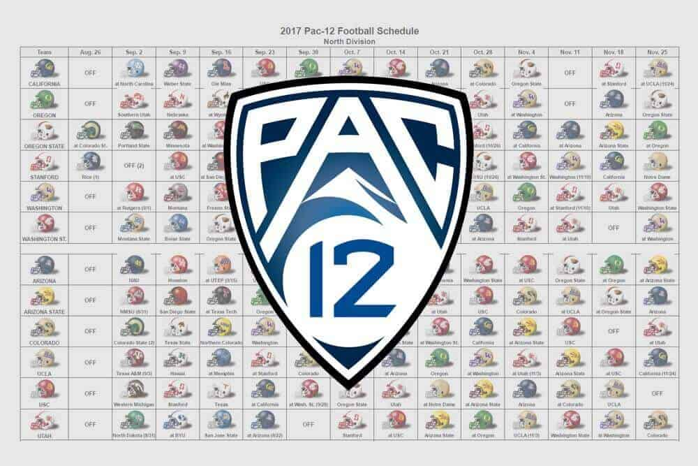 2017 Pac-12 Football Helmet Schedule
