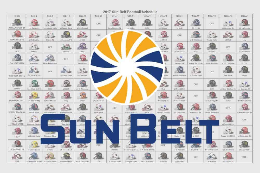 2017 Sun Belt Helmet Schedule