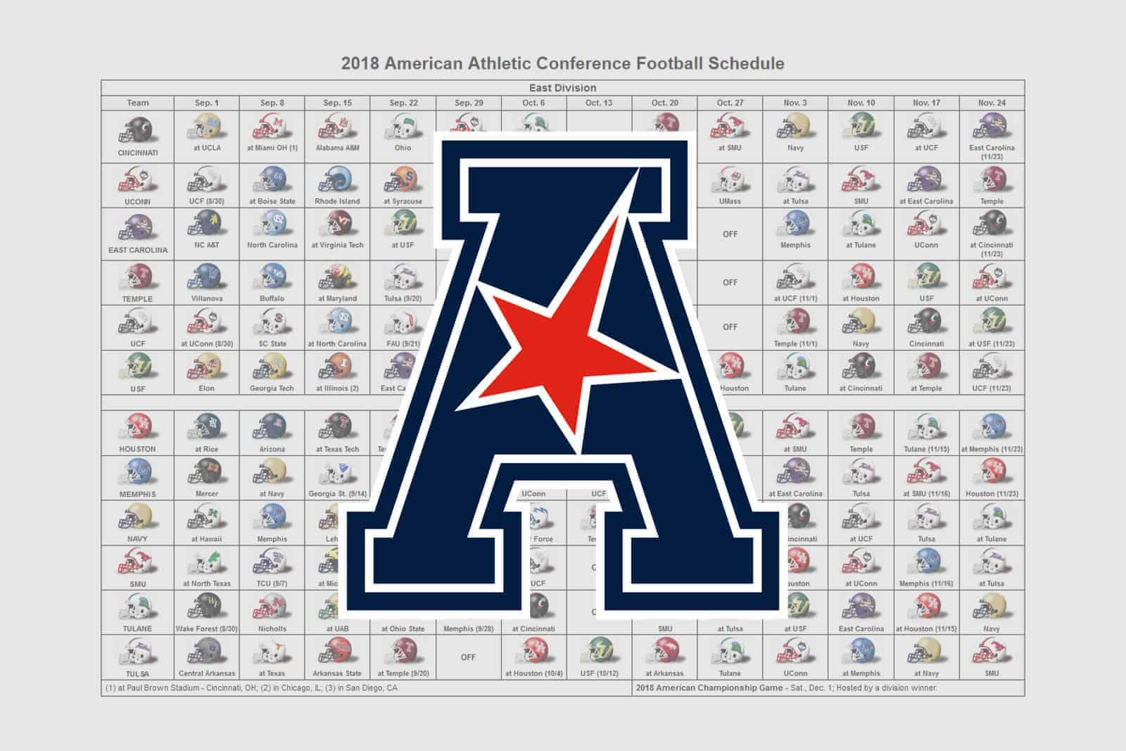 2018 AAC Helmet Schedule