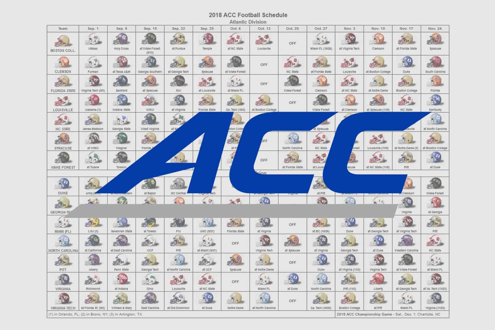 2018 ACC Helmet Schedule