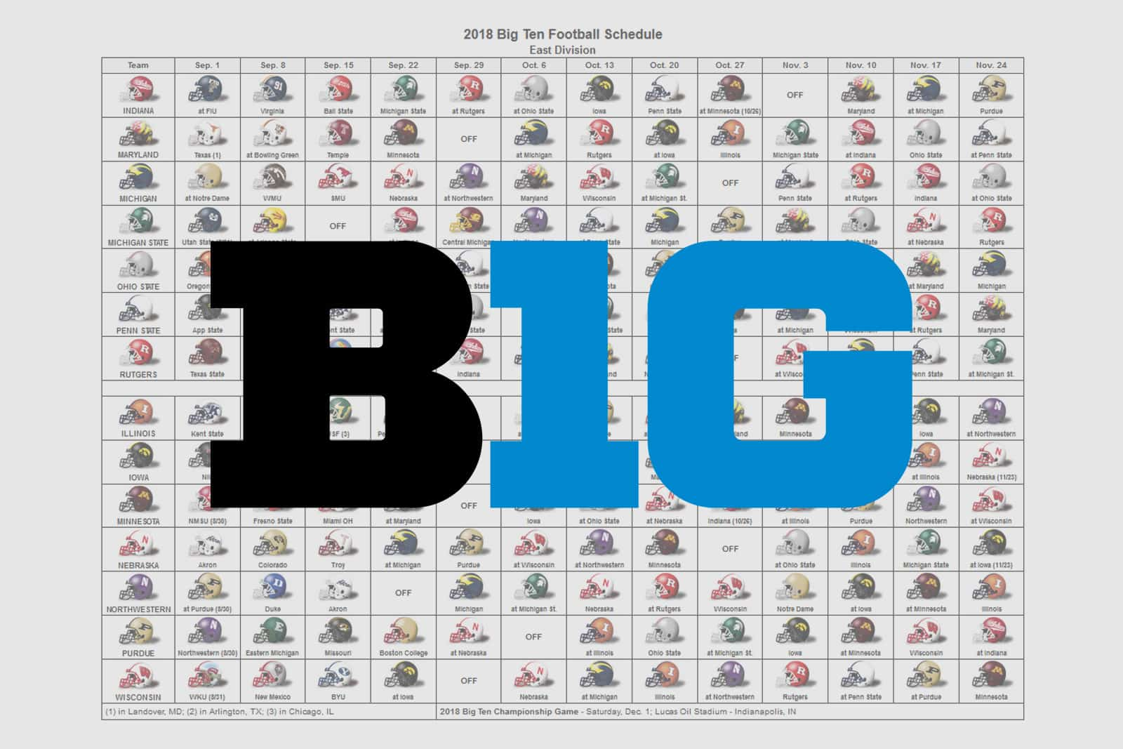 2018 Big Ten Helmet Schedule