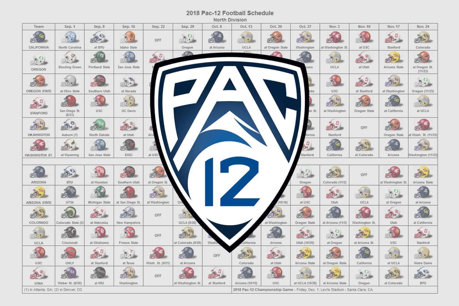 2018 Pac-12 Helmet Schedule