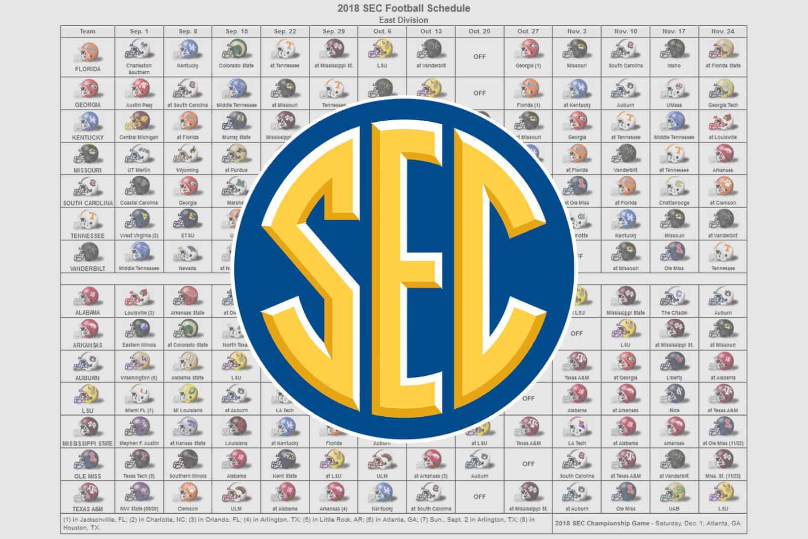 Uf Home Football Schedule 2020.2018 Sec Football Helmet Schedule