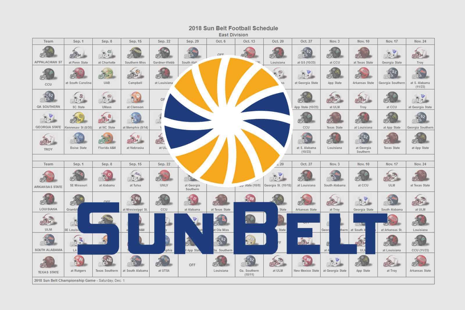 2018 Sun Belt Helmet Schedule