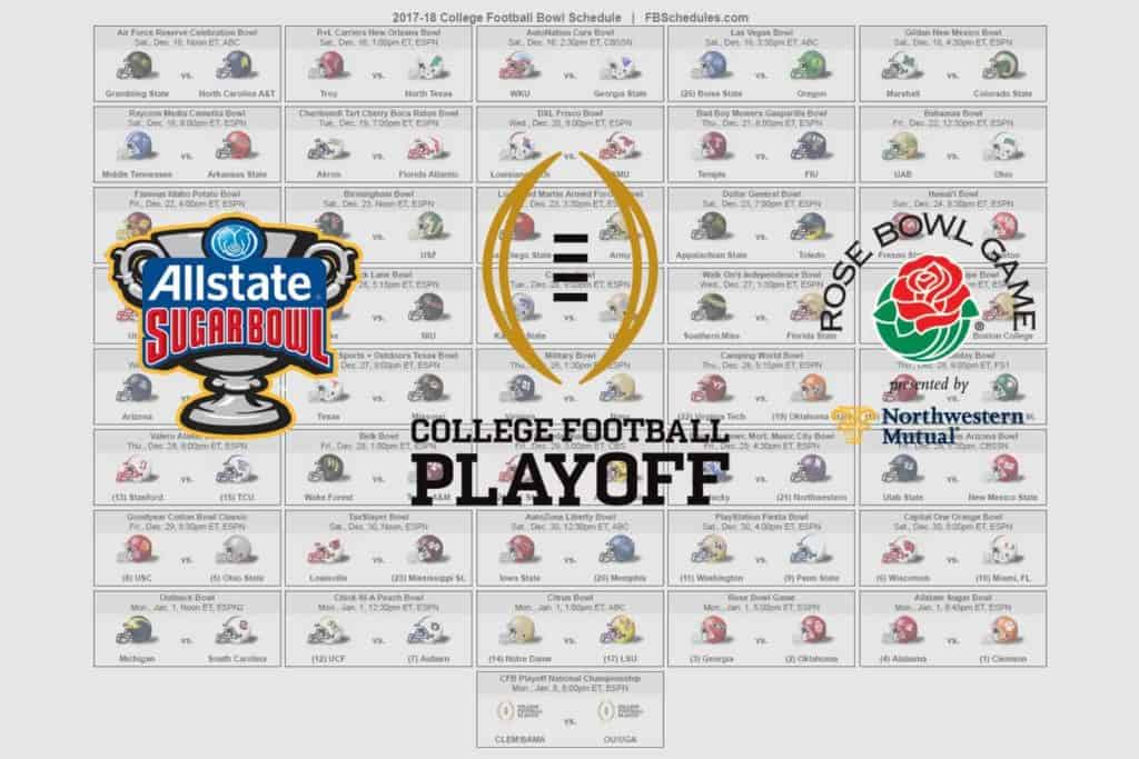 2017 18 College Football Bowl Helmet Schedule