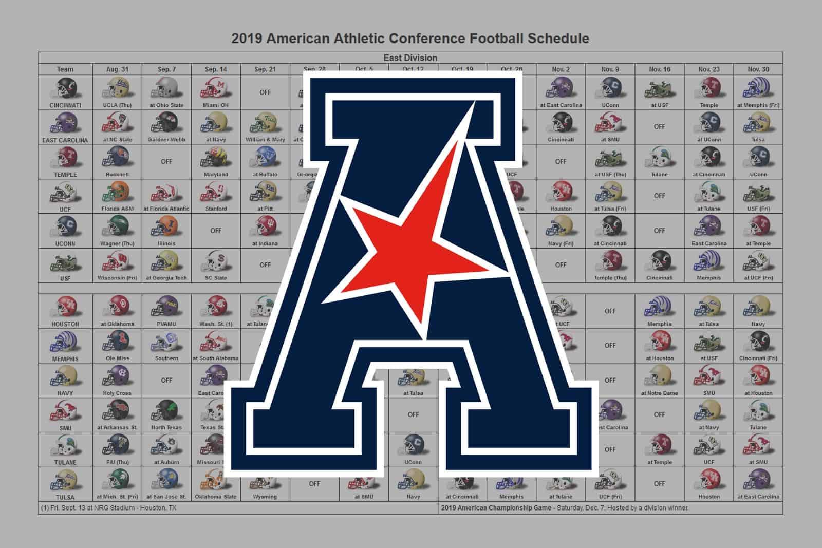 2019 AAC Football Helmet Schedule