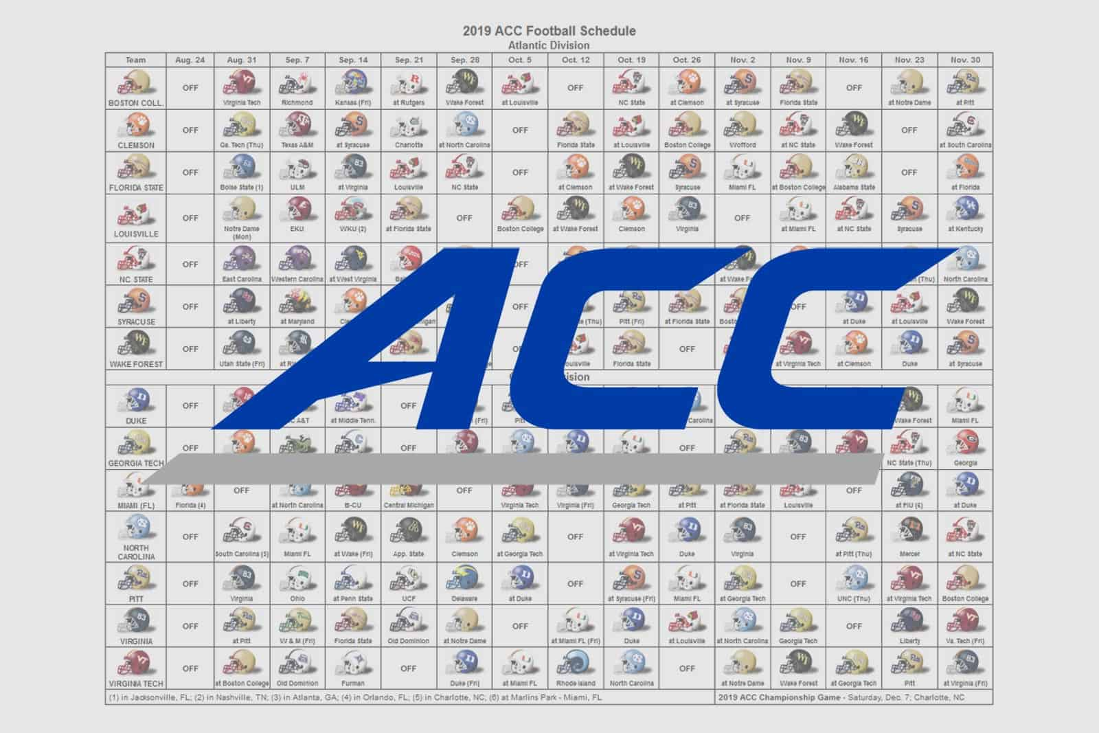 image about Printable Nfl Schedule Grid identified as 2019 ACC Soccer Helmet Timetable