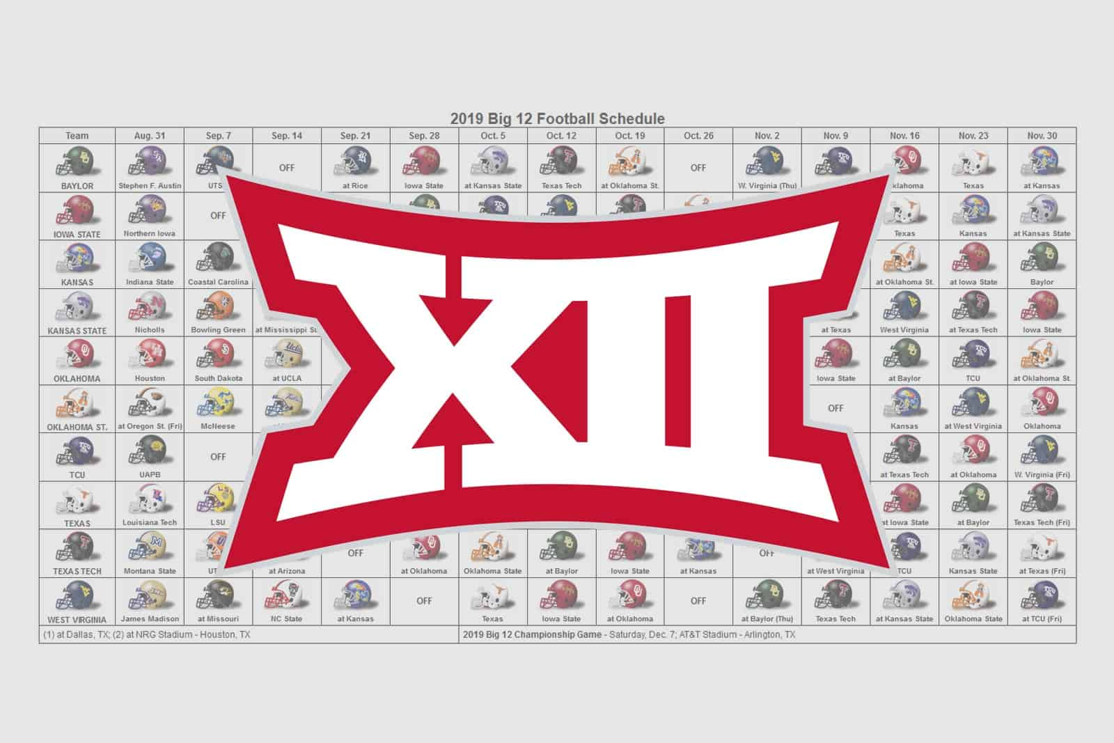 2019 Big 12 Helmet Schedule