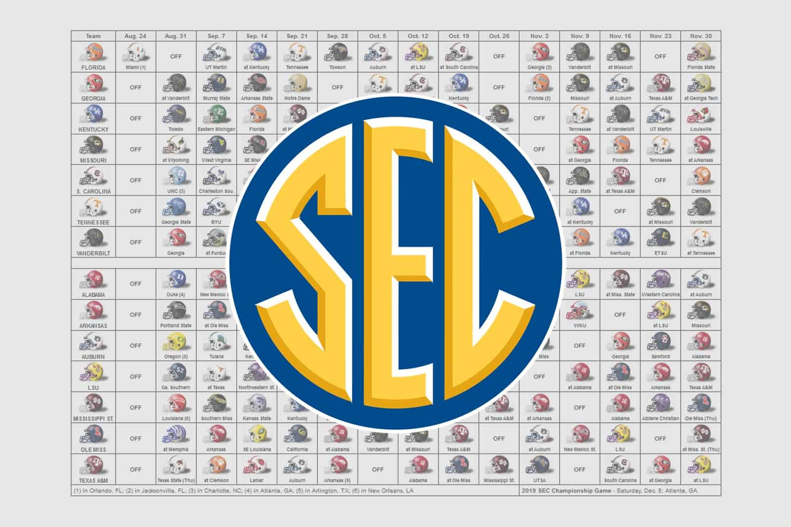 photograph regarding Nfl Week 13 Printable Schedule referred to as 2019 SEC Soccer Helmet Agenda