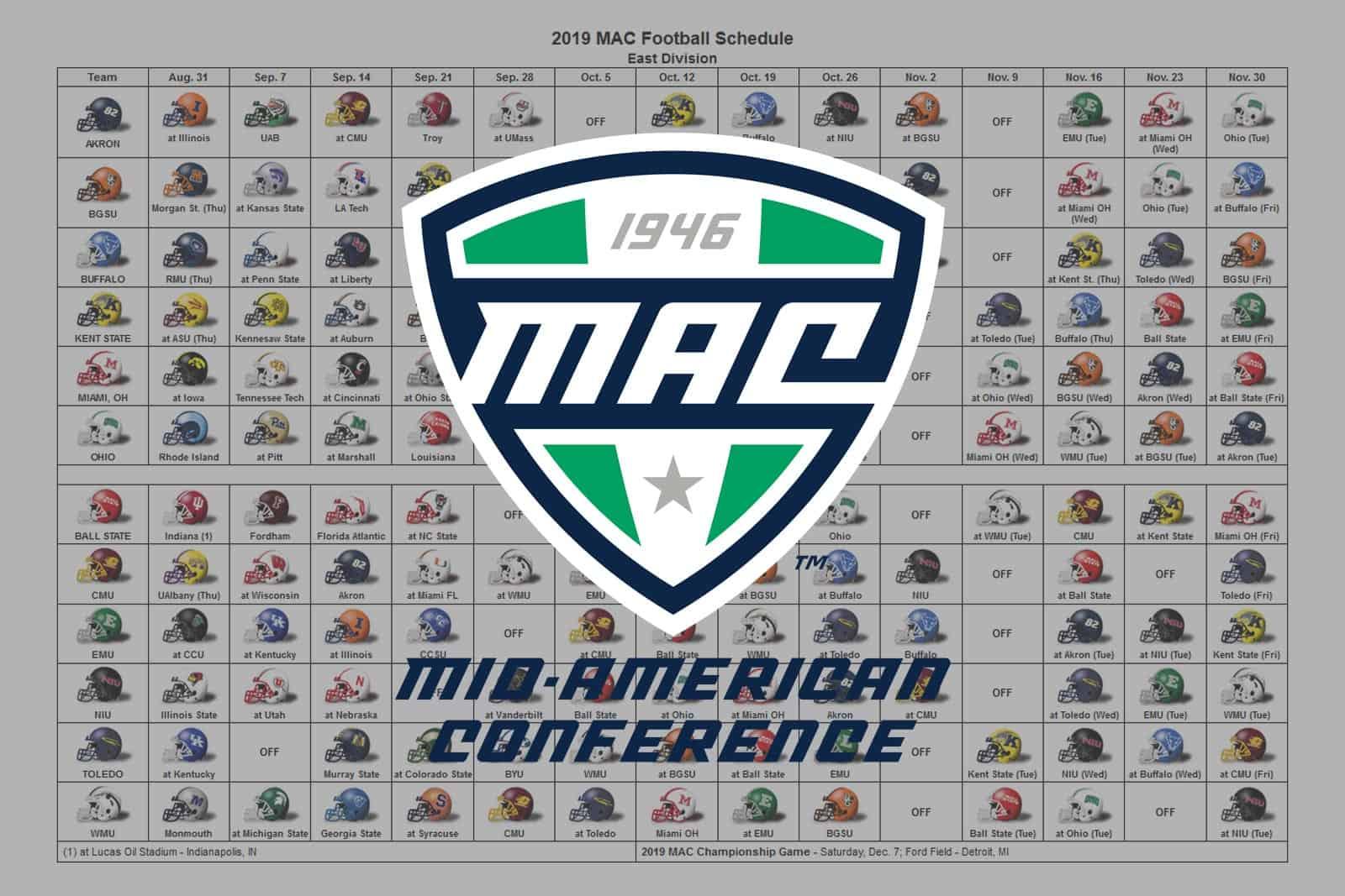 2019 MAC Football Helmet Schedule