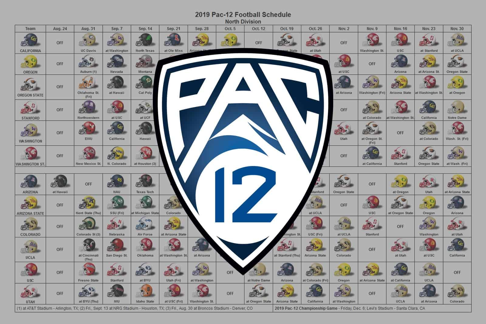 2019 Pac-12 Football Helmet Schedule