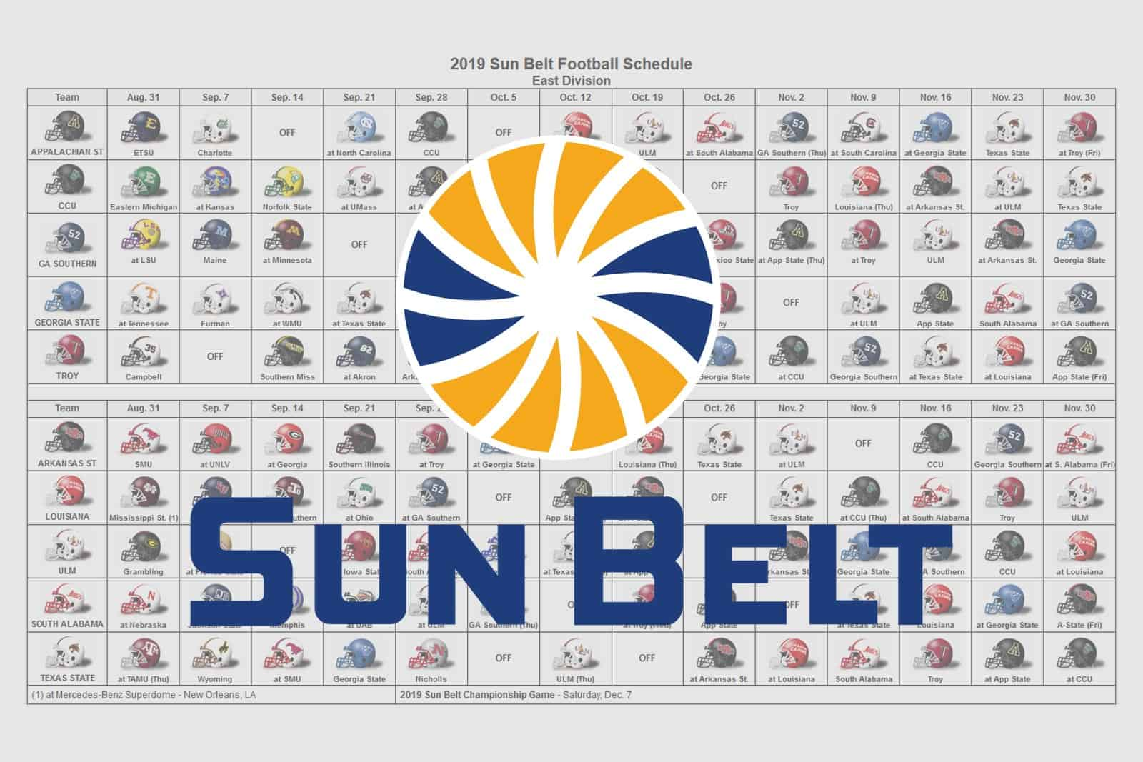 2019 Sun Belt Football Helmet Schedule