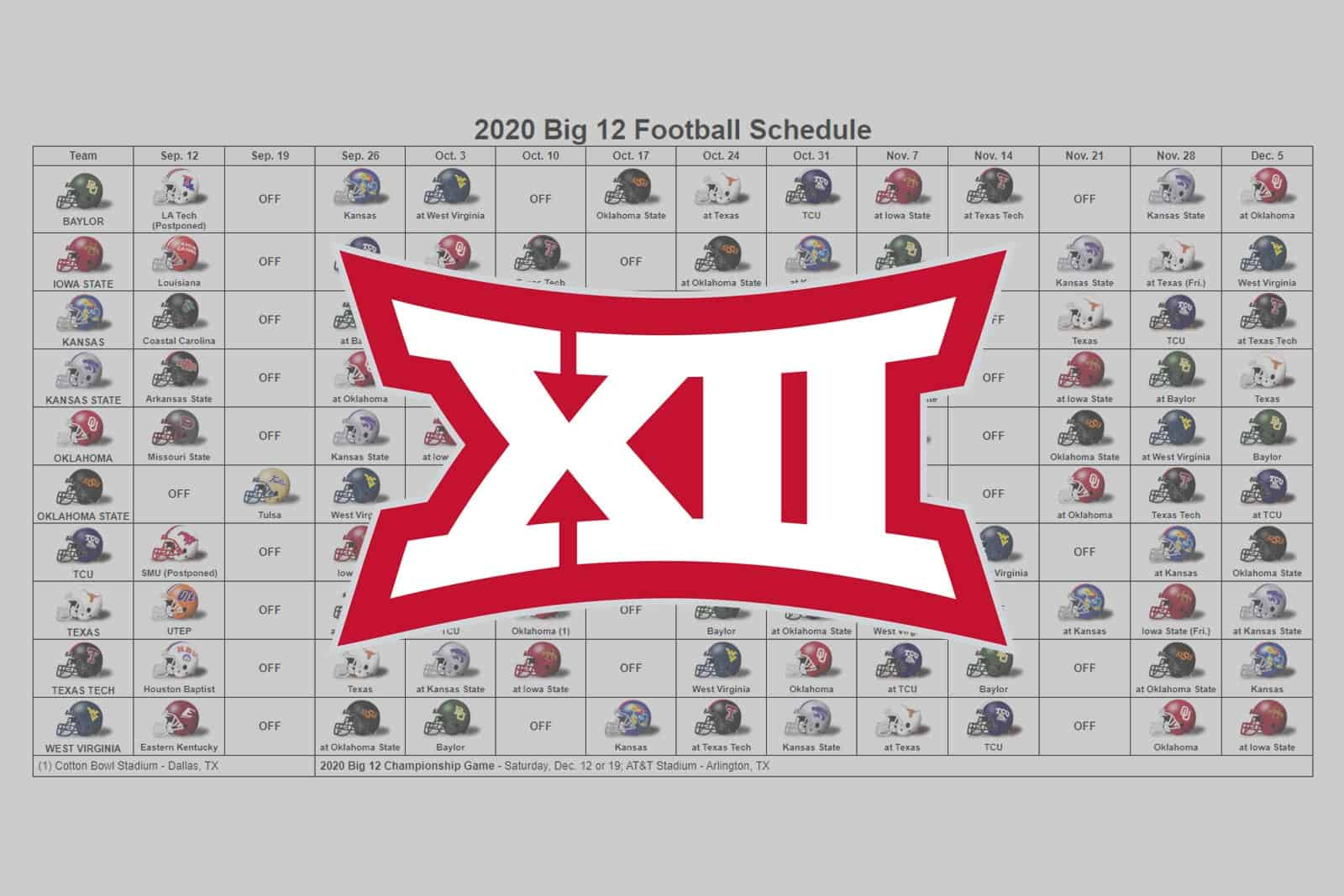 2020 Big 12 Football Helmet Schedule