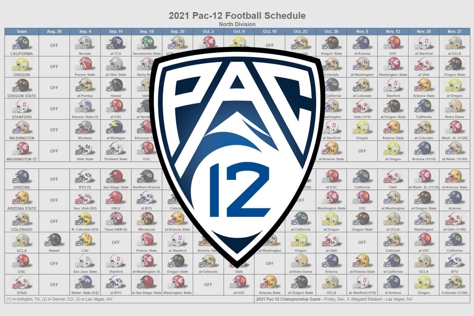 2021 Pac-12 Football Helmet Schedule