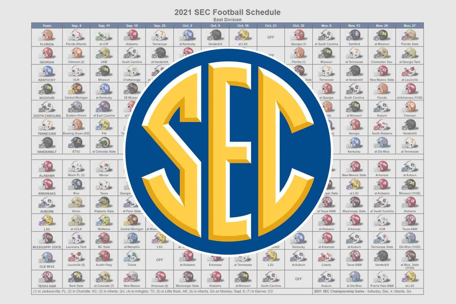 2021 SEC Football Helmet Schedule
