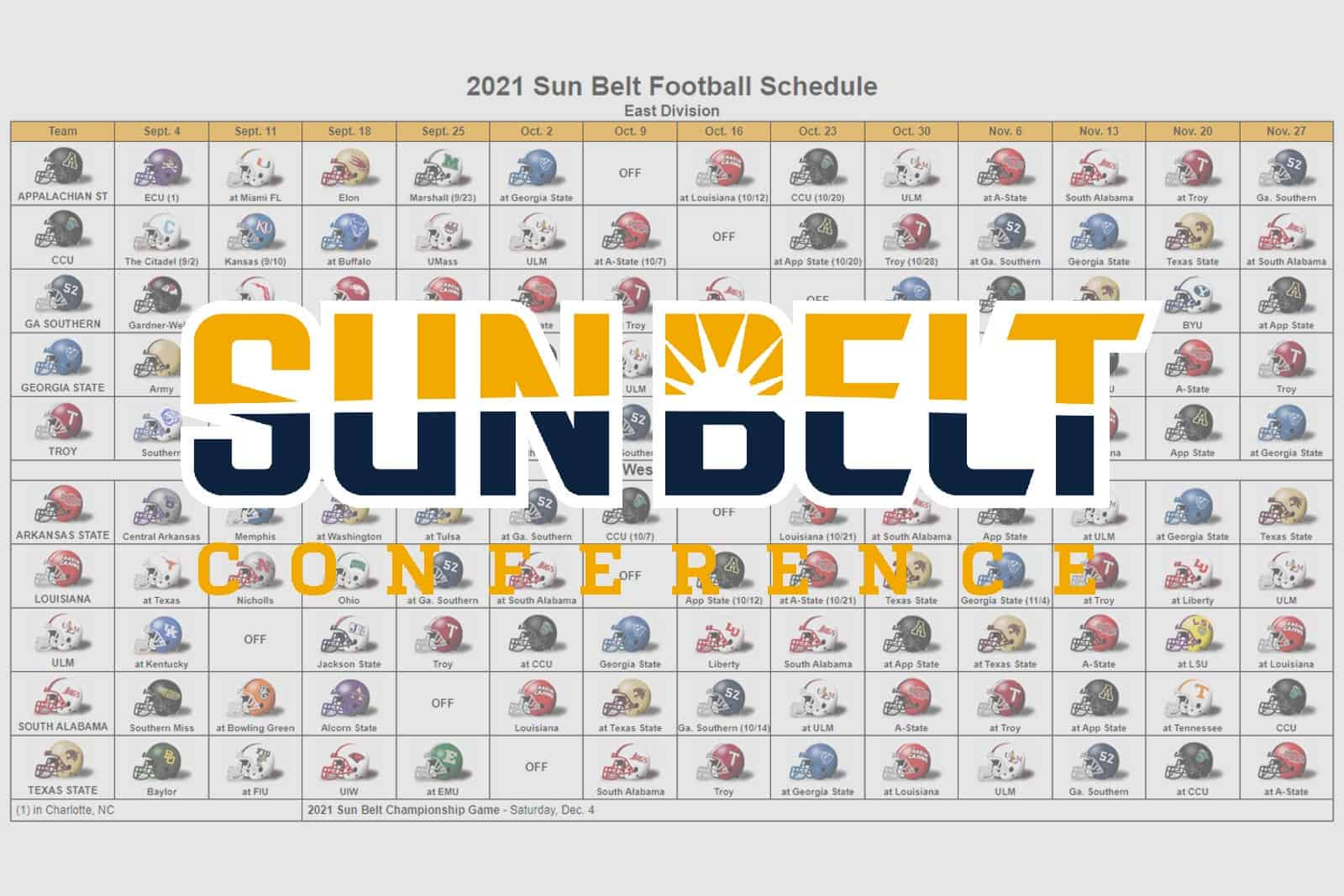 2021 Sun Belt Football Helmet Schedule
